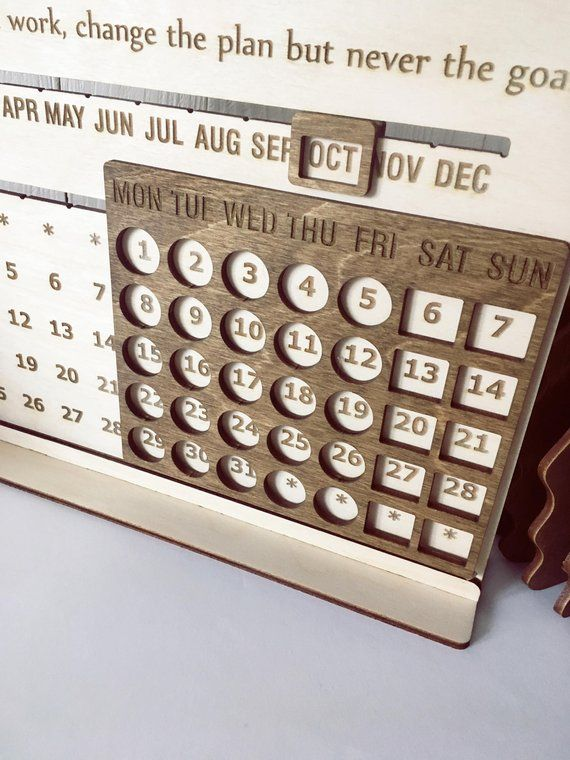 Desk Wood Eternal Calendar Accessories Decor Coworker Boss Teacher