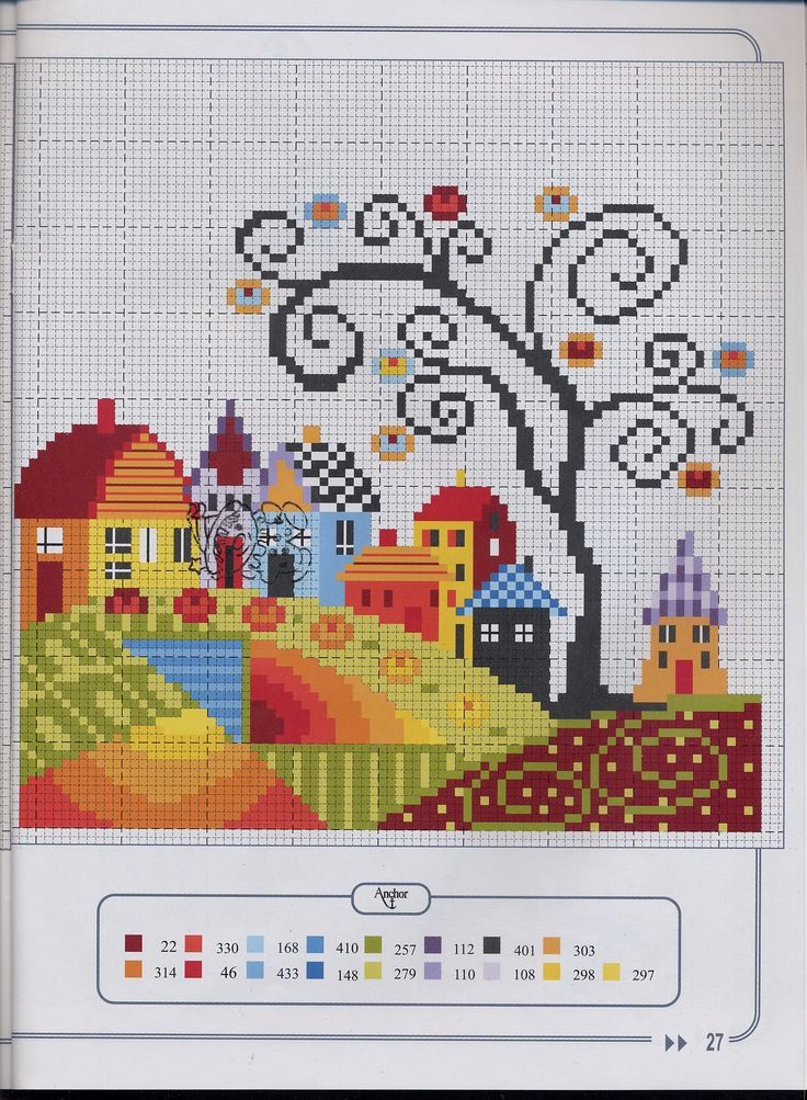 Counted Cross Stitch Colorful Town Pattern