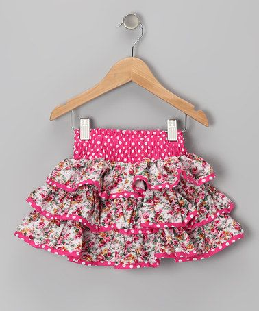 Take a look at this Pink Polka Dot Floral Ruffle Skirt - Toddler & Girls by Lele Vintage on #zulily today!