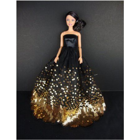 The Most Amazing Black Dress with Lots of Gold Sequins Made to Fit Barbie Doll