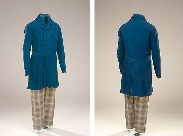 Bukser og lang frakke fra 1850's men's suit of trousers and long frock + pattern