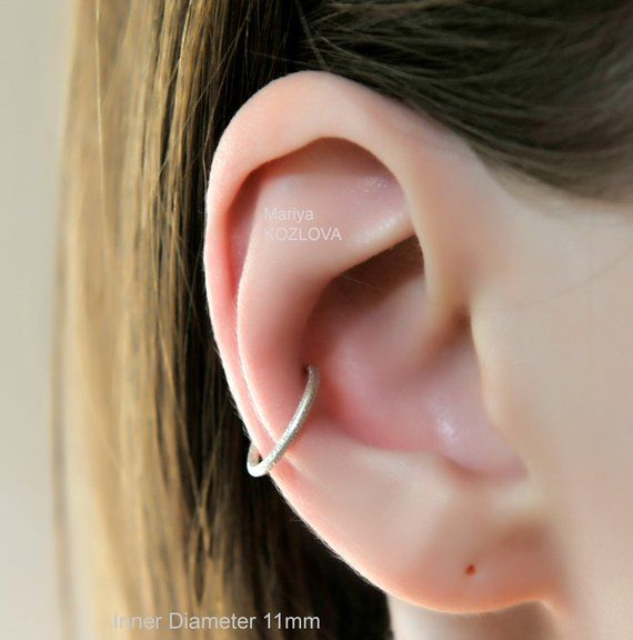 No Piercing 925 Silver Conch Ear Cuff Ring 16ga Piercing Imitation Ring 10mm 11mm Ear Conch Hoop Fake Ohrring Piercing Faux Anneau Oreilles Ear Cuff Ear Cuff Rings