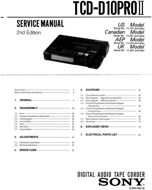Sony TCD-D10PRO mkII DAT , Original Service Manual PDF format suitable for Windows XP, Vista, DOWNLOAD