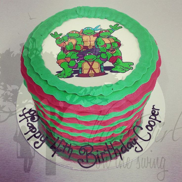 Red and Green Frills with TMNT Edible Image