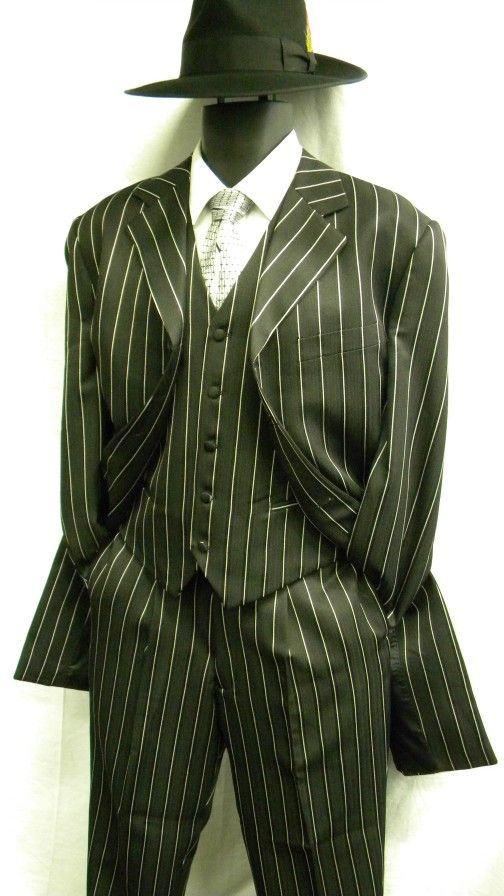 Zoot Suits by Denzel Mens Black White Stripe Zoot Suit M282