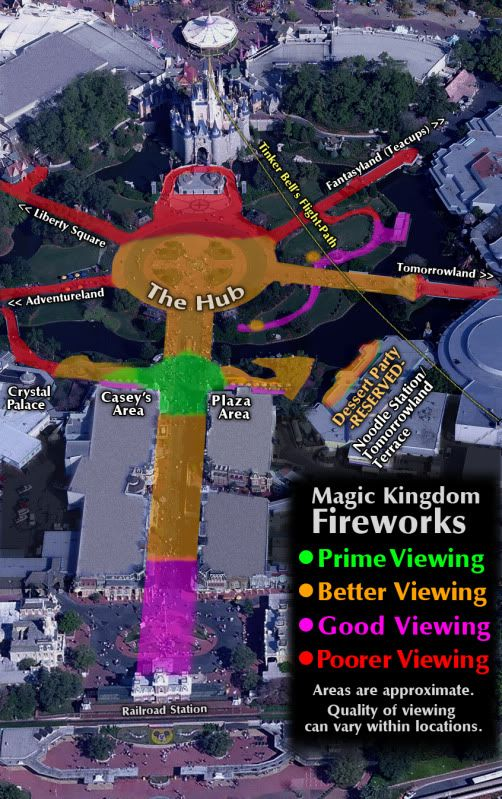 Fireworks Viewing Location's at DisneyWorld