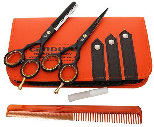Ciseaux de coiffure – Ciseaux Barber Salon – Ciseaux – Ciseaux de coupe de cheveu – 5.5″ Fix Noir Vis profonde Couper les cheveux Ciseaux –…