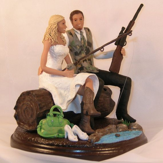 Hunting/Fishing Wedding Cake Topper Cowboy by CakeTopCreations, $325.00
