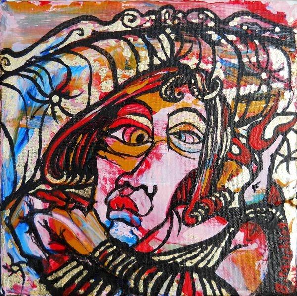 'Lady J'  Mixed Medium on canvas  15cm wide x 15cm high x 2cm deep