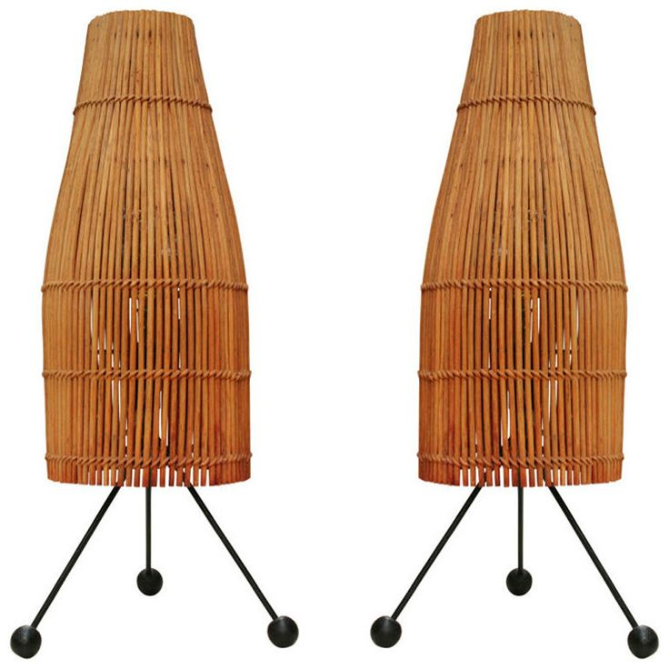 Pair of Wicker Fish Trap Table Lamps by Raymor | From a unique collection of antique and modern table lamps at http://www.1stdibs.com/furniture/lighting/table-lamps/