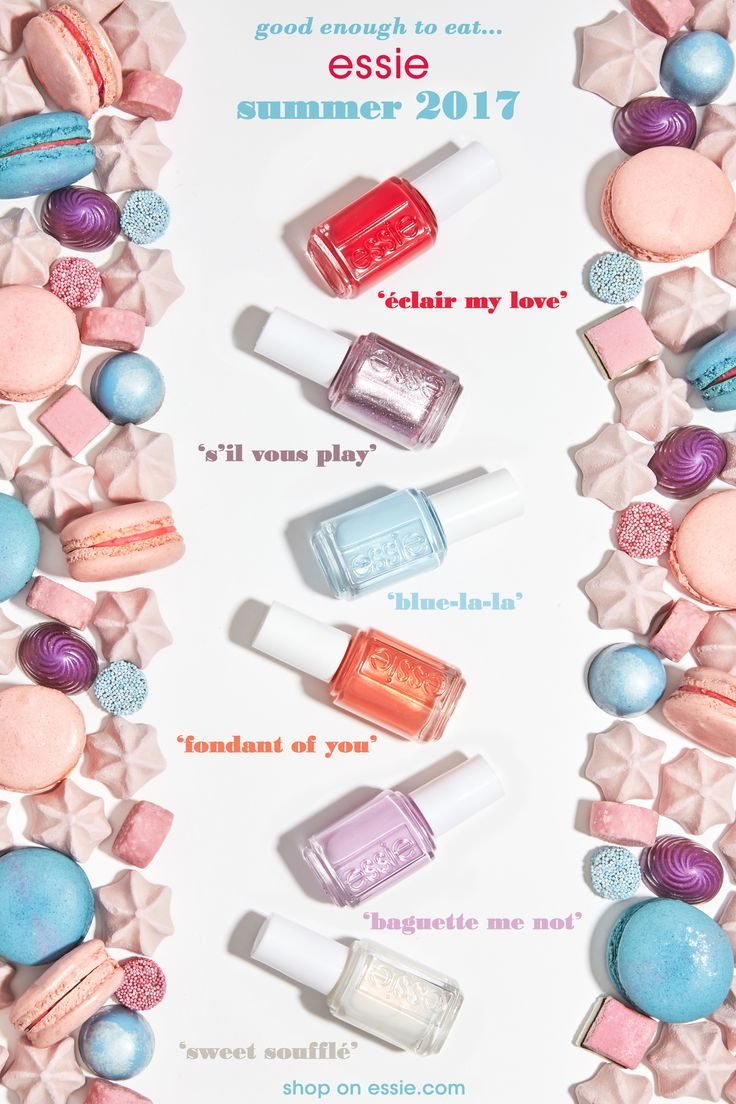 inspired by sweet pastels and sugar confections of paris' most opulent cafes is essie's summer 2017 collection. these six, super sweet nail polish colors are chic, bright, and romantic. from soft pastels to playful metallic nail colors, essie summer 2017 collection will have you begging to indulge. red candy passion, pastel parisian blue, unforgettable lilac macaron, sparkling apricot marmalade, lavender pink foil, iridescent sugar white