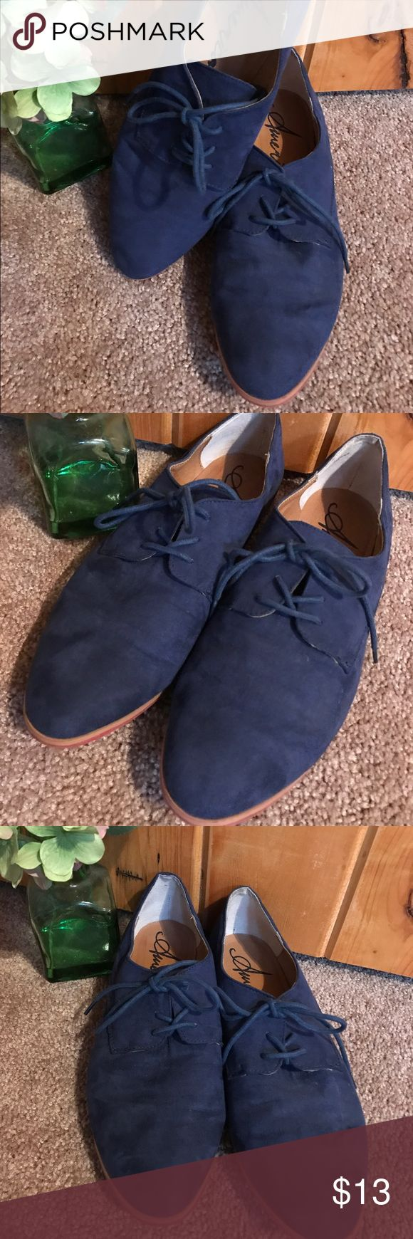 American rag size 10 blue suede oxfords. Blue suede oxfords size 10. Given to me by a friend, not my size so need to find them a new home. Pre owned but still in great condition. American Rag Shoes Flats & Loafers