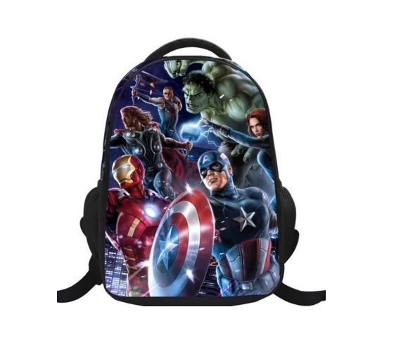Children School Backpack with Avengers Glitter Printing