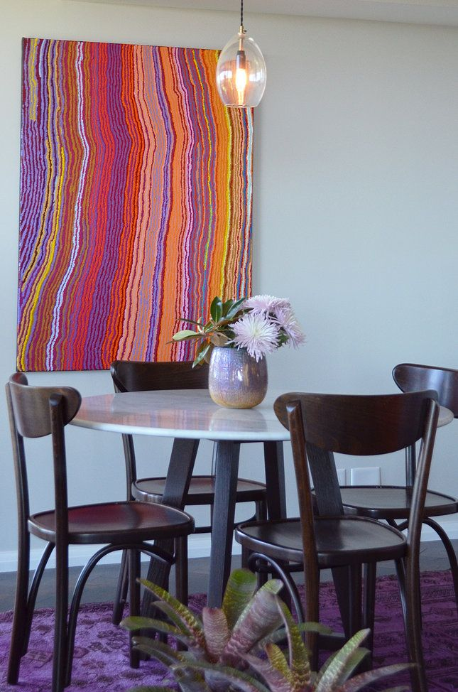 Circular Quay Harbour Apartment - Swan Studio Interior Design | breakfast nook small dining room jardan thonet australian indigenous aboriginal art overdyed rug cadrys