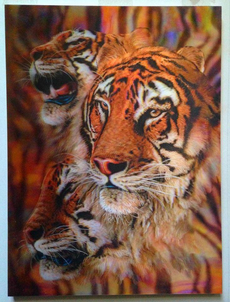 Brand New 3D Picture Wall Art Three Tigers 30x40cm