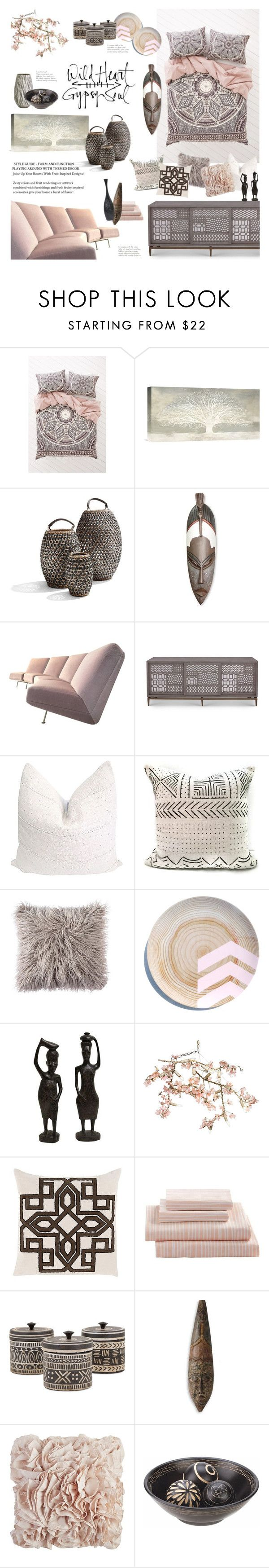 """""""Feminine Tribal Decor"""" by happilyjynxed ❤ liked on Polyvore featuring interior, interiors, interior design, home, home decor, interior decorating, Magical Thinking, NOVICA, Artifort and Canopy Designs"""