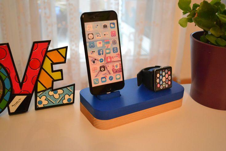 iphone Ladestation docking station ständer apple watch Ladestation apple watch station ständer iDOQQ DUE Blau holz Station, iphone 5,6,7,8 von NightLightSJ auf Etsy