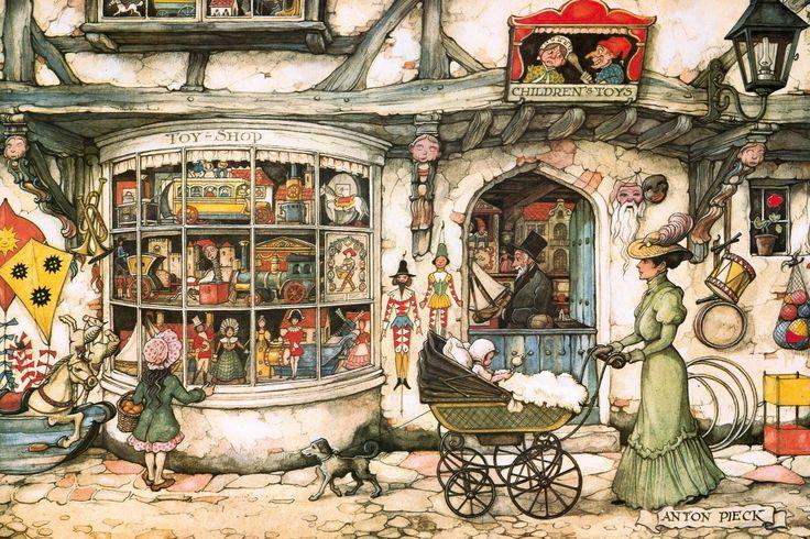"""Anton Pieck """"Toy Shop"""". Bij de ingang hangt er de bekende maskerade maskers van de oude Sint en zijn Knechtje!"""