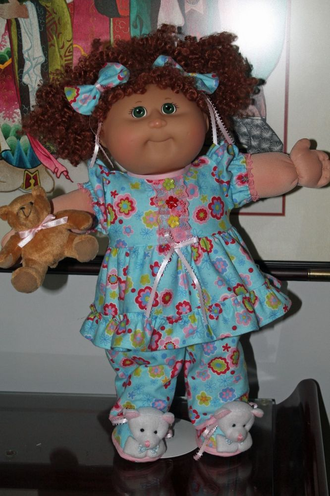"Cabbage Patch Doll Cloths - Blue flannelette PJ's and Teddy Slippers -  20"" doll…"