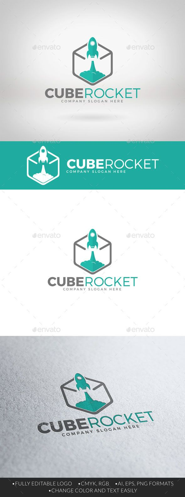 Cube Rocket Logo — Vector EPS #flat #hexa • Available here → https://graphicriver.net/item/cube-rocket-logo/12376023?ref=pxcr