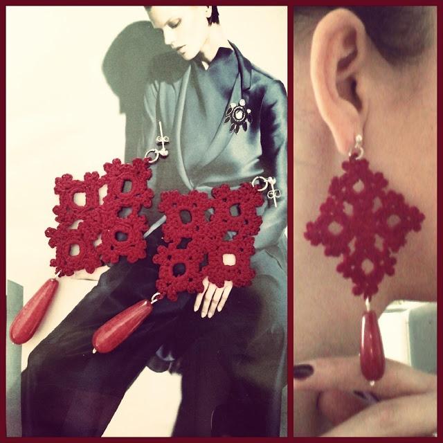 orecchini a uncinetto realizzati a mano  cotone color bordeaux con applicazione di pietra dura tono su tono  - crochet earrings