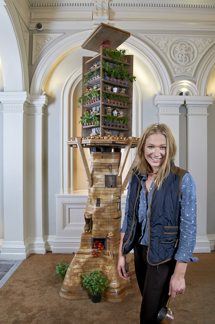 """We carry on celebrating design by hosting """"Eggcentric Tree"""" by Linda Monique this week in 1901 Wine Bar. The installation, a scrap wood tree house features 1440 sprouting breakfast eggs which is 1% of the total amount of eggs we use at the hotel throughout the year."""