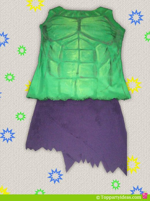 DIY Hulk Costume For Girls Tutorial, using this idea but to make into a boys costume