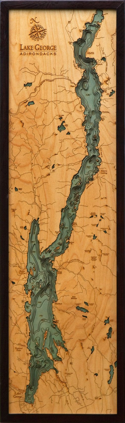 LAKE GEORGE New York 13.5 x 43 LaserCut by LakeMapsInk on Etsy, $248.00