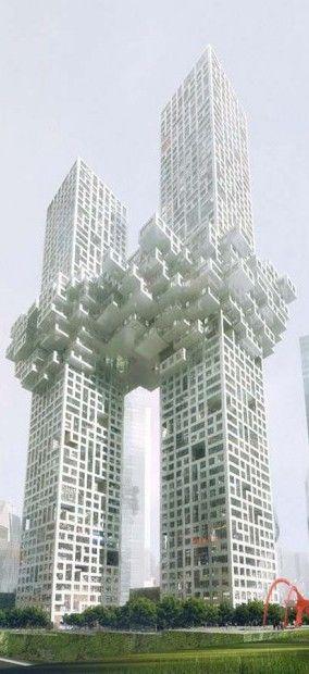 """"""" Torres con nubes """", Yongsan Dreamhub, Seúl, Corea del Sur, por MVRDV Arquitectos. 60 y 54 pisos y alturas de 300m y 560m."""