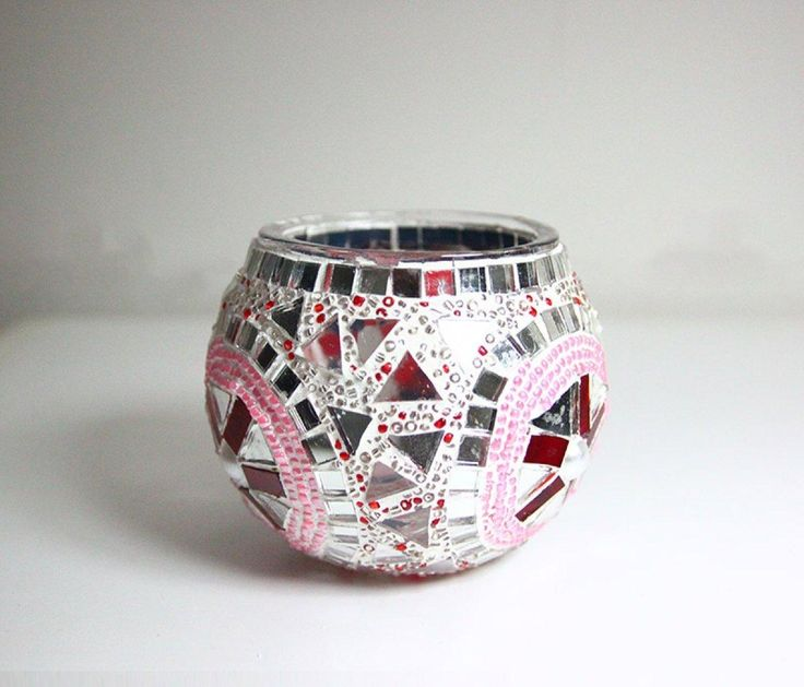MOSAIC CANDLE HOLDER, PINK CANDLE HOLDER