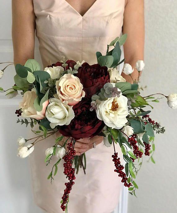 Burgundy Wedding Flower Bouquet: Champagne And Burgundy Wildflower Boho Bridal Bouquet