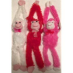 "Bundle of 3 Valentine's Day 13"" Plush Hanging Monkeys (18"" Extended Arms): Red ~ Hot Pink ~ White"