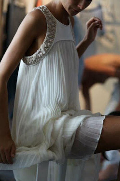 Fun reception dress. Love the pleated chiffon on this Tibi dress.    And with that shell and bead details this would make a beautiful laid-back beach wedding dress