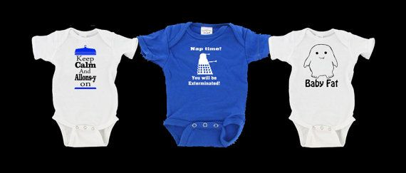 Doctor Who gift set.....Dalek, Adipose baby fat, Allons-y baby bodysuit, one peice, infant creeper
