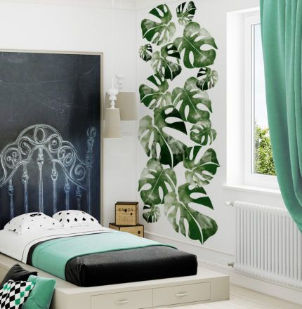 Monstera Leaf room for kids with fresh coloures