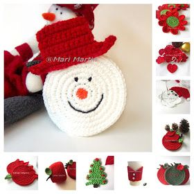 Crochet Colorful: Thinking of Christmas Crochet Coasters Snowman: