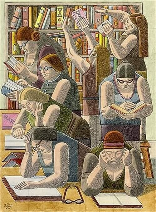 Virtually every photo and painting I see of a woman or women reading is of a young, thin, white, pretty woman. So I LIKE this illustration as a refreshing change. William Roberts