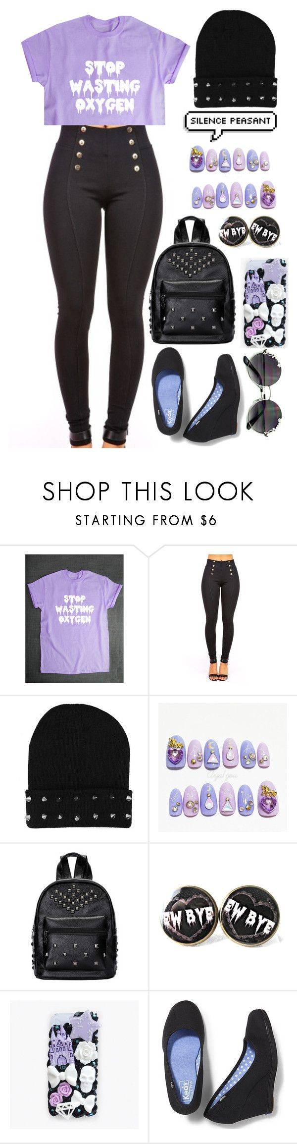 """School: Pastel Goth"" by cherry-demon ❤ liked on Polyvore featuring cutekawaii and Keds"