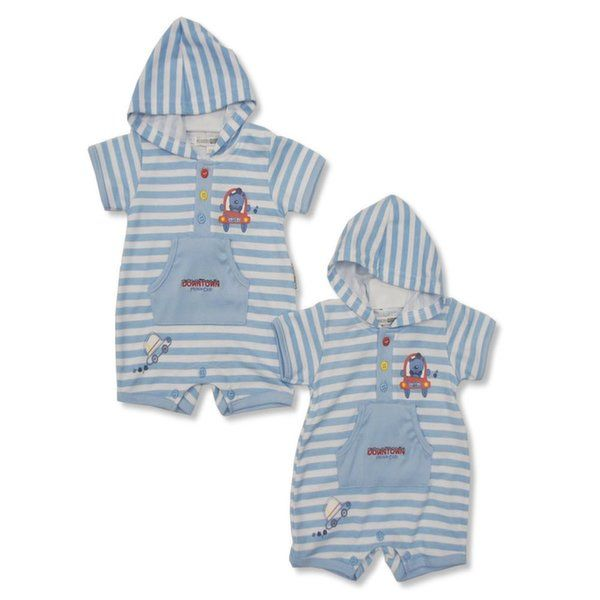 Baby boy striped hoody romper