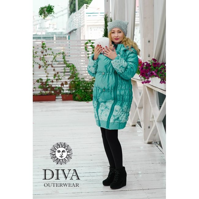 3in1 Babywearing Winter Coat Diva Laguna.  Winter coat for front carrying, regular use or during pregnancy.
