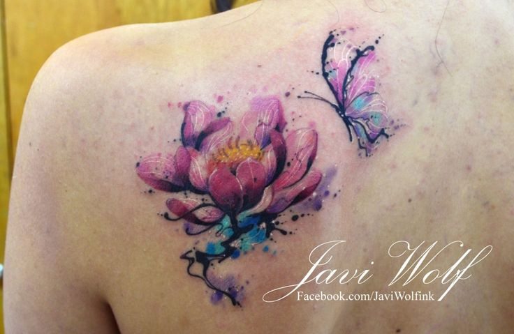 Watercolor Lotus Tattoo. Tattooed by @javiwolfink For great tattoos don't forget to follow @inkspirationworld