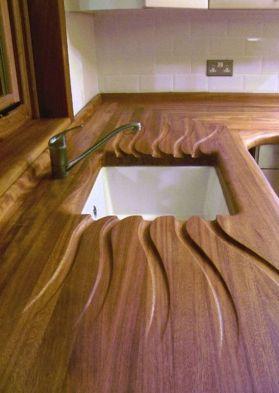 Beautifully carved draining board / countertop. Simon Birtwistle, UK.