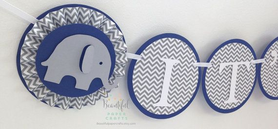 Baby Blue e grigio Baby Elephant rosette Cupcake Toppers - elefante Baby Shower Decorazioni_Beautiful Paper Craft_set 12pz._euro 12,90_Beautiful Paper Craft