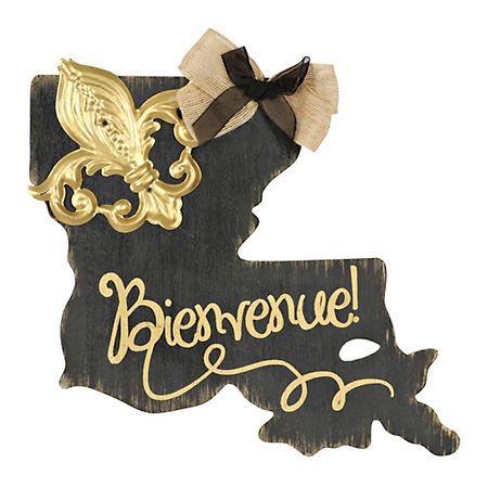 Black and Gold Bienvenue Louisiana Plaque | Kirklands