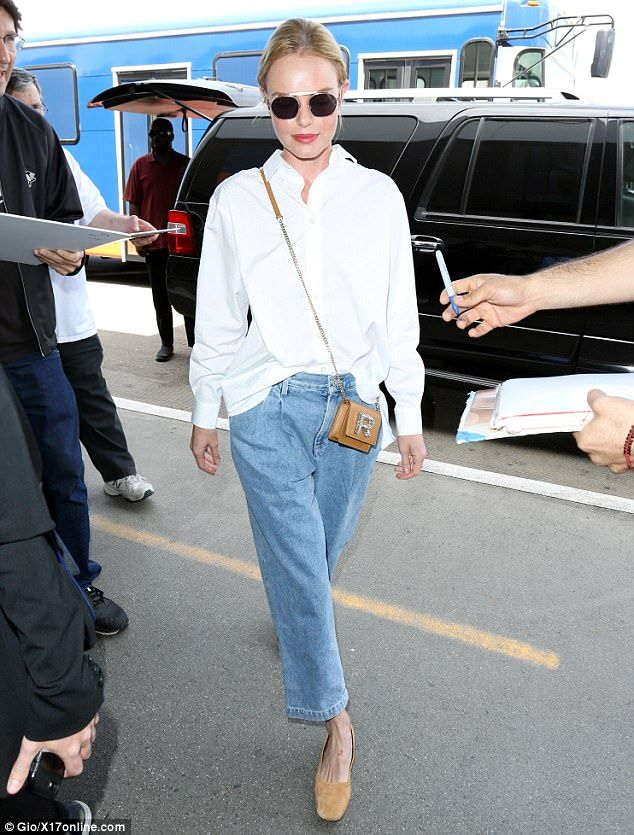 Kate Bosworth glows in casual chic button down and jeans at LAX- April 2017#dailymail