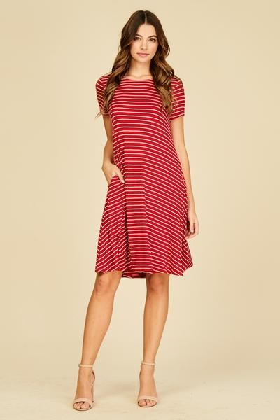 1982e2d1a7256 Red And White Stripe Midi Dress With Side Pockets Striped Dress Outfit