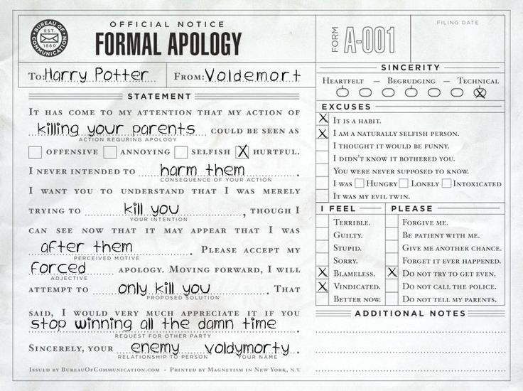 Formal Apology letter from Voldemort to Harry Potter Percy - apology letter