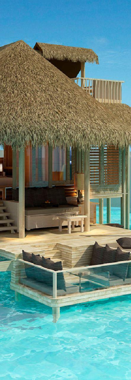 Six Senses Laamu - Maldives.  How cool is this outside sitting area!!!