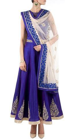 Evoke elegance in this royal blue raw silk #anarkalisuit!