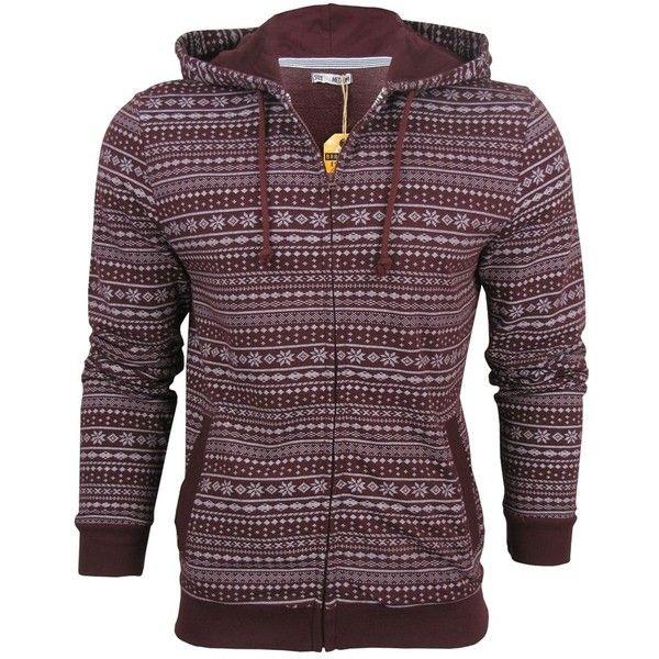 Brave Soul Men's Aztec Nordic Vettel Zip Hoodie (Bordeaux) ❤ liked on Polyvore featuring men's fashion, men's clothing, men's hoodies, jackets, men, mens hoodies, mens aztec hoodies, mens hooded sweatshirts, mens hoodie and mens aztec print hoodie